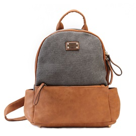Nubuck Leather With Canvas Backpack