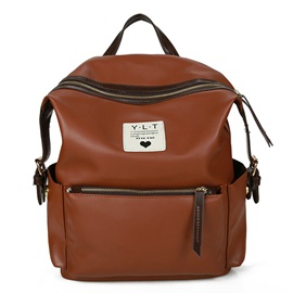 Vintage PU Zipper Women Backpack