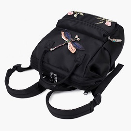 Casual Style Floral Embroidery Oxford Backpack