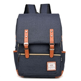 Casual Belt-Decorated Design Canvas Backpack