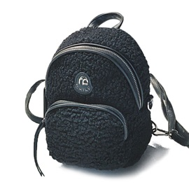 Casual Solid Color Soft Plush Backpack