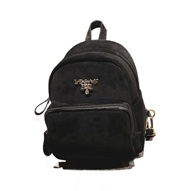 Casual Solid Color PU Backpack