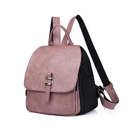 Casual Solid Color Soft PU Zipper Backpack