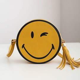 Round Shaped Smile Design with Tassel Women's Summer Bag