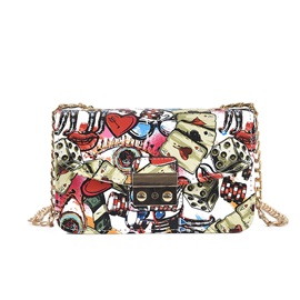 Trendy Simple Cartoon Printing Chain Crossbody Bag
