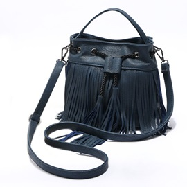 Concise Bucket Shape Tassel Crossbody Bag