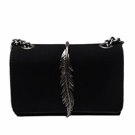 Particular Metal Leaves Decoration Crossbody Bag
