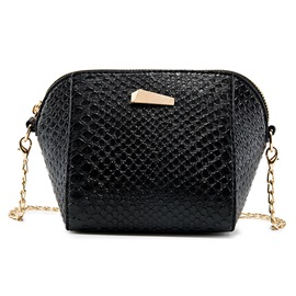 Shell Shape Croco-Embossed Crossbody Bag