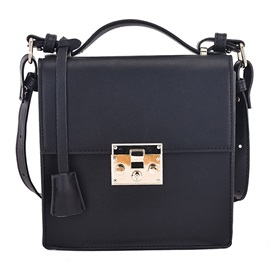 Solid Color Latch Decoration Crossbody Bag