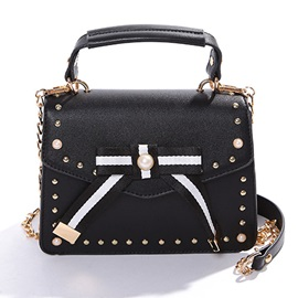 Concise Rivet Bowtie Decoration Crossbody Bag