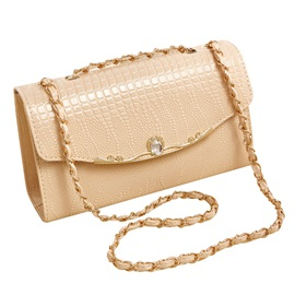 Korean Style Crocodile Prints Chain Crossbody Bag