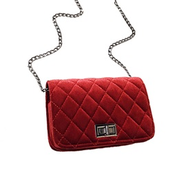 Velour Quilted Lining Design Mini Crossbody Bag