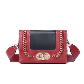 Trendy Color Block Metal Design PU Crossbody Bag