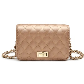 Quilted Lining Solid Color Women Crossbody Bag