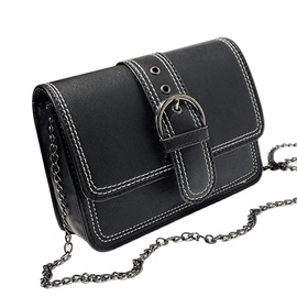 Solid Color Chain Small Crossbody Bag