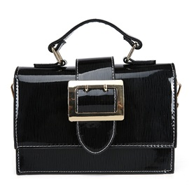 Faux Patent Leather Colorful Chain Crossbody Bag
