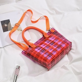 Print Plaid Barrel-Shaped Crossbody Bags