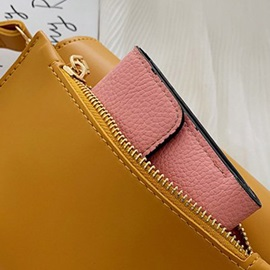PU Lock Plain Saddle Crossbody Bag