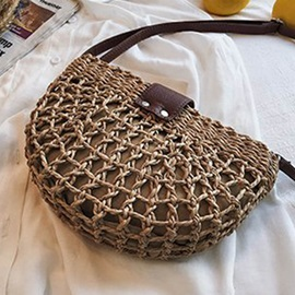 Grass Rattan Plain Knitted Saddle Crossbody Bag