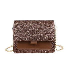 PU Chain Plain Square Crossbody Bag