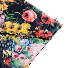 Black Pu Floral Print Rivet Detailed Flap Designer Clutch