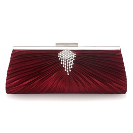 Chic Velour Diamond Decorated Pleated Clutch