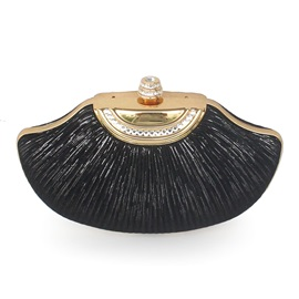 Plain Velour Pleated Shell Women's Clutch