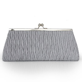 Wrinkled Design Bowknot Decorated Women's Clutch