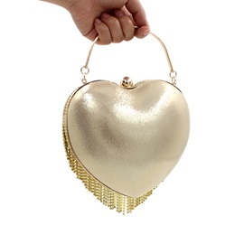 Heart Shaped Rhinstone Tassel Women's Clutch