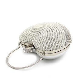 Pearls Decorated Heart Shaped Women's Clutch
