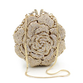 Shining Flower Shaped Crystal Inlaid Women Clutch