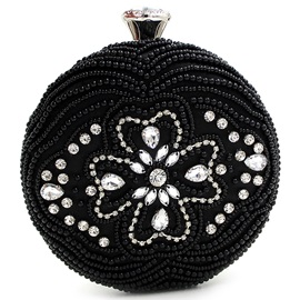 Novelty Round Beaded Diamond Evening Clutch