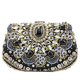 Vintage Diamond Beaded Women Evening Clutch