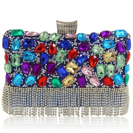 Colorful Diamond Tassels Evening Clutch
