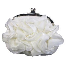 Pleated Chiffon Floral Design Women Clutch