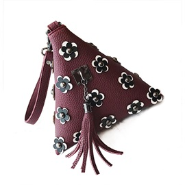 Triangle Floral Decoration Tassel Clutch