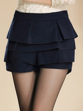 Solid Color Pleated skirt Short