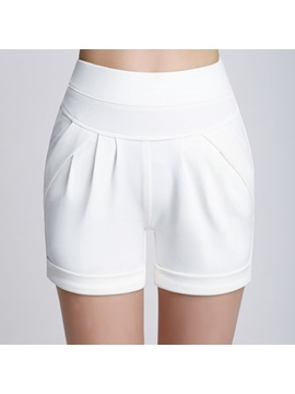 Simple Pure Color Pleated Short
