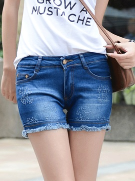 Stylish Frayed Destroy Flanging Denim Short