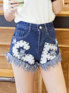 Stylish Color Block Rivet Designed Short