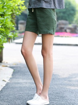 Simple Cotton Linen Lace-Up Short