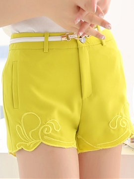 Solid Color Embroidery Women's Shorts