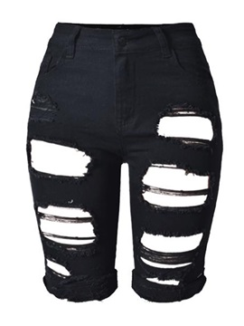 Black Ripped Worn-Out Jeans Shorts