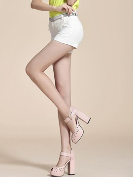 Candy Color Button Lace Shorts
