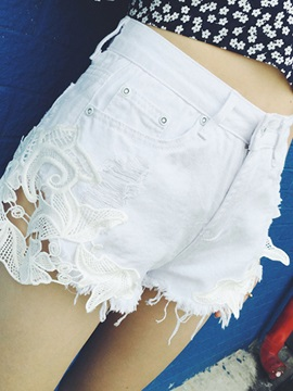 White Lace Patchwork Shorts
