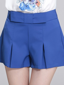 Solid Color Bowknot Pleated Shorts
