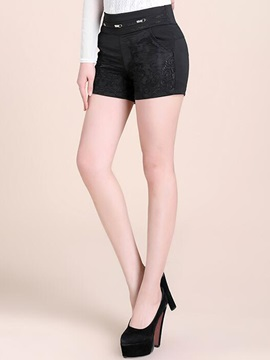 Black Lace Zipper Patchwork Shorts