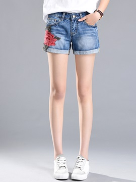 Denim Floral Embroidery Straight Shorts