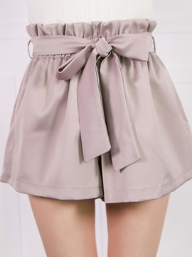 High-Waist Pleated Patchwork Bowknot Wide Legs Shorts
