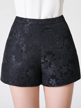 High-Waist Floral Patchwork Zipper Wide Legs Shorts